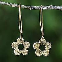 Gold plated dangle earrings, 'Petite Fig Blossom' - Thai Handcrafted Gold Plated Silver Petite Flower Earrings