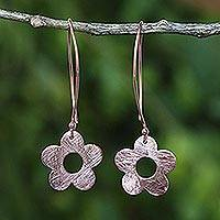 Rose gold plated dangle earrings, 'Petite Fig Blossom' - Handcrafted Rose Gold on Silver 925 Petite Flower Earrings