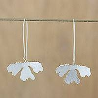 Sterling silver drop earrings, 'Petite Fig Leaf' - Handcrafted Thai Sterling Silver Petite Fig Leaf Earrings
