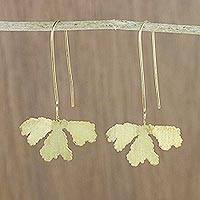 Gold plated dangle earrings, 'Petite Fig Leaf' - Handcrafted Petite Fig Leaf Thai Gold Plated Silver Earrings