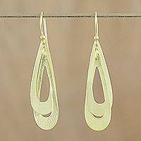 Gold plated dangle earrings, 'Tears Entwined' - Gold Plated Sterling Silver Contemporary Thai Earrings