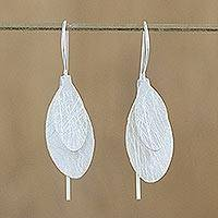Sterling silver drop earrings, 'Fluttering Foliage' - Handcrafted Modern Thai Sterling Silver Leaf Earrings