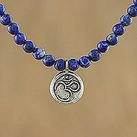Lapis lazuli pendant necklace, 'Om Concentration' - Lapis Lazuli and 950 Silver Beaded Pendant Necklace