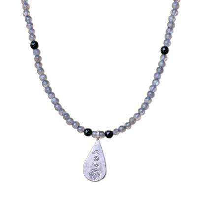 Labradorite and Onyx Pendant Necklace from Thailand