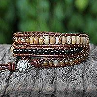 Multi-gemstone wrap bracelet, 'Earthen Blend'