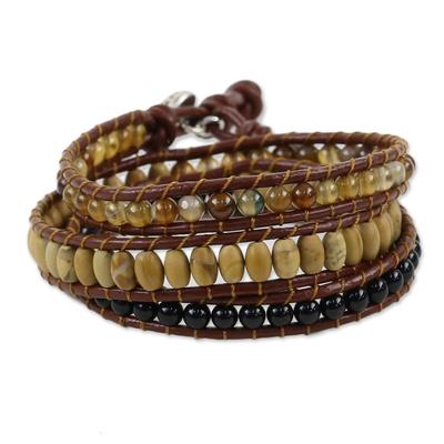 Multi-gemstone wrap bracelet, 'Earthen Blend' - Karen Silver Multigem Beaded Wrap Bracelet from Thailand
