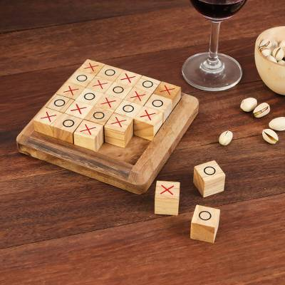 Handcrafted Large Wood Tic Tac Toe Board From Thailand Extreme Tic