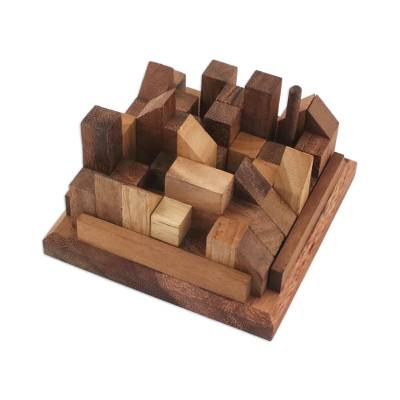 Wood puzzle, 'Happy City' - Handcrafted Wood City Puzzle from Thailand
