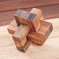 Wood puzzle, 'Friendly Letters' - Handcrafted Wood Burr Puzzle from Thailand