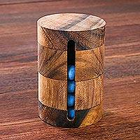 Wood puzzle, 'Spin to Win' - Handcrafted Wood Cylindrical Puzzle from Thailand