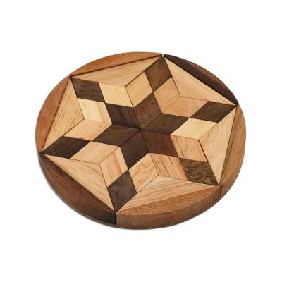 Wood puzzle, 'Star of David' - Star Shaped Wood Puzzle Game from Thailand