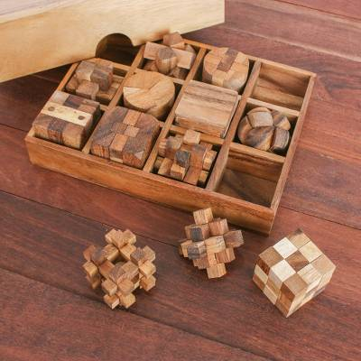 12 Handcrafted Wood Puzzles with Box from Thailand, 'Array of Challenges'