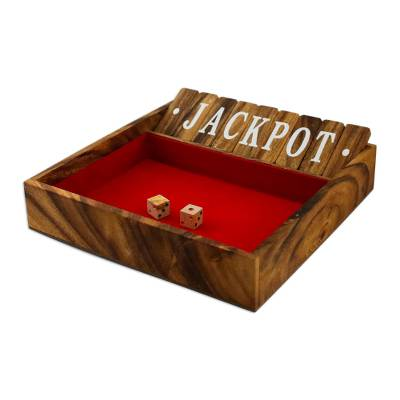 Wood shut the box game, 'Friendly Pastime' - Handcrafted Rain Tree Wood Shut the Box Game from Thailand