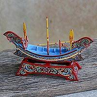 Wood sculpture, 'Kolae Boat' - Hand Painted Wood Boat Sculpture from Thailand