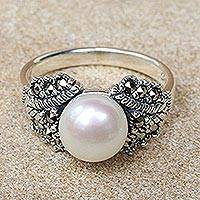 Cultured pearl cocktail ring, 'Elegant Glow' - Fair Trade Cultured Pearl and Marcasite Cocktail Ring