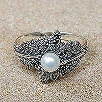 Featured review for Cultured pearl and marcasite cocktail ring, Star of the Show