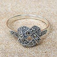 Marcasite cocktail ring, 'Endless Connection' - Fair Trade Marcasite Cocktail Ring from Thailand