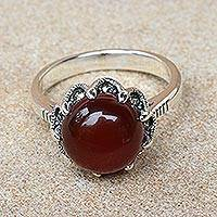 Carnelian and marcasite cocktail ring, 'Crown of Love' - Red-Orange Carnelian and Marcasite Cocktail Ring