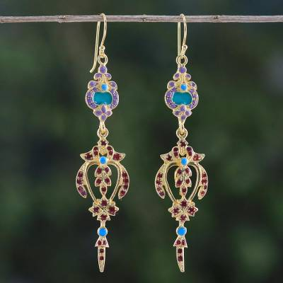 Gold plated brass dangle earrings, 'Thai Succulence' - Gold Plated Brass Earrings in Purple and Red from Thailand