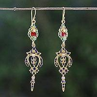 Gold plated brass dangle earrings, 'Thai Confection' - Gold Plated Brass Multicolored Earrings from Thailand