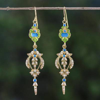 Gold plated brass dangle earrings, 'Thai Purity' - Gold Plated Brass Earrings in White and Green from Thailand