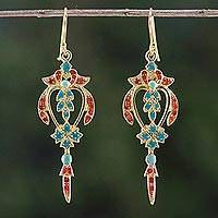 Gold plated brass dangle earrings, 'Proud Beauty in Red' - Gold Plated Brass Earrings in Green and Red from Thailand