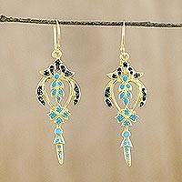 Gold plated brass dangle earrings, 'Proud Beauty in Blue' - Gold Plated Brass Earrings in Blue and Navy from Thailand