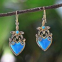 Gold plated dangle earrings, 'Ornate Heart' - Gold Plated Brass and Resin Heart Earrings from Thailand