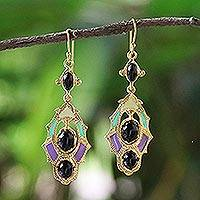 Gold plated brass dangle earrings, 'Ornate Thai' - Gold Plated Brass and Resin Colorful Earrings from Thailand