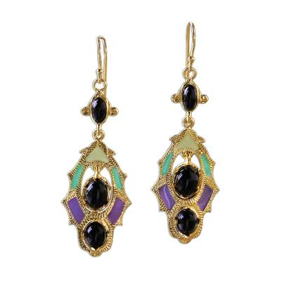 Gold plated brass dangle earrings, 'Ornate Thai' - Gold Plated Brass and Resin Colorful Earrings from Thailand
