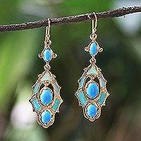 Gold plated brass dangle earrings, 'Ornate Thai in Blue'