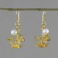 Gold plated cultured pearl dangle earrings, 'Radiant Aquarius' - Gold Plated Cultured Pearl Aquarius Earrings from Thailand