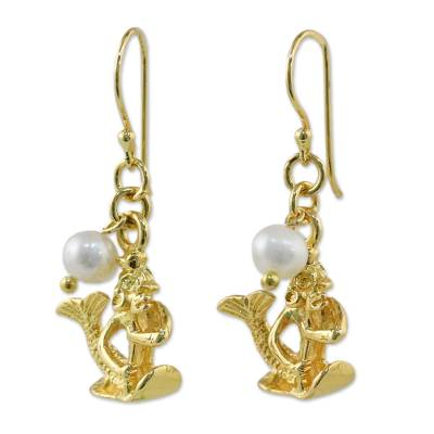 Gold Plated Cultured Pearl Aquarius Earrings from Thailand