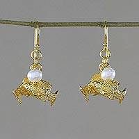 Gold plated cultured pearl dangle earrings, 'Radiant Pisces' - Gold Plated Cultured Pearl Pisces Earrings from Thailand