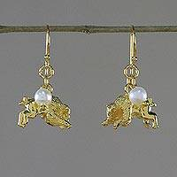 Gold plated cultured pearl dangle earrings, 'Radiant Taurus' - Gold Plated Cultured Pearl Taurus Earrings from Thailand