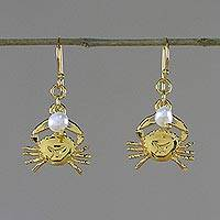 Gold plated cultured pearl dangle earrings, 'Radiant Cancer'