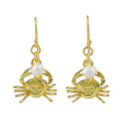 Gold plated cultured pearl dangle earrings, 'Radiant Cancer' - Gold Plated Cultured Pearl Cancer Earrings from Thailand