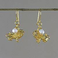 Gold plated cultured pearl dangle earrings, 'Radiant Leo'