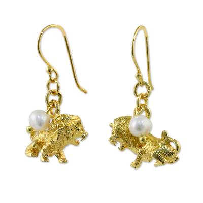 Gold Plated Cultured Pearl Leo Earrings from Thailand