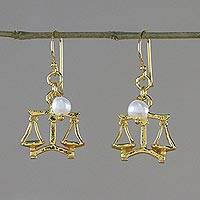 Gold plated cultured pearl dangle earrings, 'Radiant Libra' - 18k Gold Plated Cultured Pearl Libra Earrings from Thailand