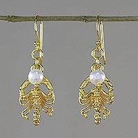 Gold plated cultured pearl dangle earrings, 'Radiant Scorpio'
