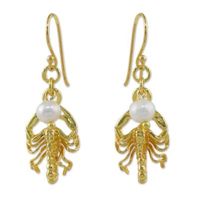 Gold plated cultured pearl dangle earrings, 'Radiant Scorpio' - Gold Plated Cultured Pearl Scorpio Earrings from Thailand