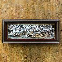Aluminum repousse wall panel, 'Eight Galloping Horses' - Handmade Aluminum and Raintree Horse Panel from Thailand