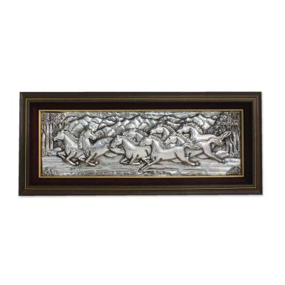 Handmade Aluminum and Raintree Horse Panel from Thailand
