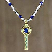 Gold plated cultured pearl and lapis lazuli pendant necklace, 'Faithful Soul in Blue' - Gold Plated Cultured Pearl and Lapis Lazuli Cross Necklace