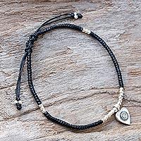 Silver charm bracelet, 'Special Heart' - Karen Silver Adjustable Heart Charm Bracelet from Thailand