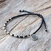 Silver beaded bracelet, 'Exquisite Om' - Karen Silver Adjustable Beaded Om Bracelet from Thailand