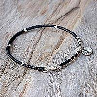 Silver charm bracelet, 'Lotus Disc' - Karen Silver Lotus Charm Bracelet from Thailand