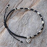 Silver beaded bracelet, 'Inner Heart' - Karen Silver Heart Charm Beaded Bracelet from Thailand