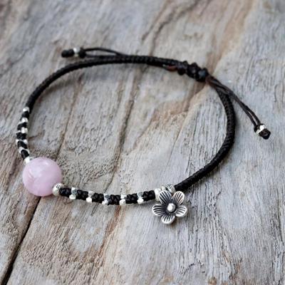 Rose quartz beaded bracelet, 'Pink Smile' - Karen Silver and Rose Quartz Floral Bracelet from Thailand